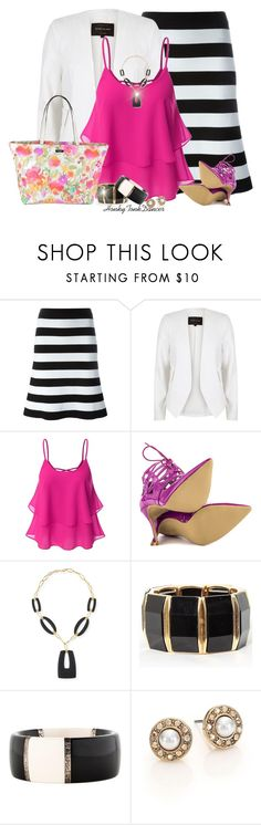 """Hot Pink Tank"" by honkytonkdancer ❤ liked on Polyvore featuring Antonio Marras, River Island, Doublju, Penny Sue, Alexis Bittar, Ippolita, Oscar de la Renta, Kate Spade, hotpink and stripetshirt"
