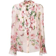 Dolce & Gabbana rose print ruffled blouse ($1,603) ❤ liked on Polyvore featuring tops, blouses, pink lace top, see through blouse, lace blouses, lace top and sheer blouses