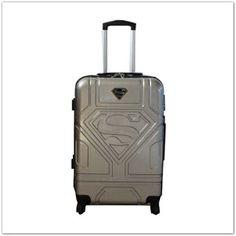 Pinkbagoly: Superman bőrönd ABS anyagból húzókarral, bolygóker...