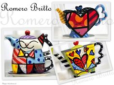 Tea pots from Romero Britto´s porcelain collection