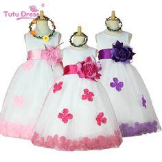 2016 Girls Bridesmaid Dress Rose Petal Hem Cute Princess Tutu Dress Girls Clothing Sets Wedding Birthday Vestidos