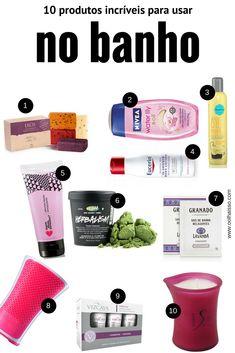 Produtos de beleza para usar no banho. produtos de ação rápida. cosméticos para banho. cosméticos para banheiro. spa day em casa.
