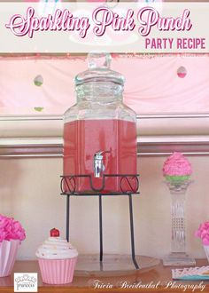 This Sparkling Pink Punch Party Recipe is light and refreshing and perfect for any occasion. It is my easy go to punch and I think you're going to love it. Birthday Party Punches, Pink Party Punches, Birthday Drinks, Pink Birthday, Little Girl Birthday, Birthday Ideas, Ballerina Birthday, Birthday Parties, Pink Punch Recipe Non Alcoholic