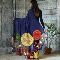 Indigo with Multi Coloured Dream Catcher Embroidered Cotton Saree with Tassels - Rustorange Indian Gowns Dresses, Indian Fashion Dresses, Dress Indian Style, Indian Designer Outfits, Garba Dress, Navratri Dress, Designer Party Wear Dresses, Kurti Designs Party Wear, Dress Neck Designs