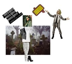 """""""""""Beetlejuice, Beetlejuice, Beetlejuice.""""-Beetlejuice, BEETLEJUICE (1988)"""" by batgirl-at-the-disco3 ❤ liked on Polyvore featuring A.L.C., Jeffrey Campbell, blackandwhite, beetlejuice, timburton and Thriller"""