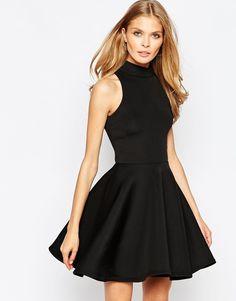 Oh My Love - Hochgeschlossenes Skaterkleid aus Neopren - Schwarz