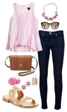 """Road trip time!"" by thepinkcatapillar ❤ liked on Polyvore featuring Tory Burch, J Brand, Cynthia Rowley, J.Crew, Jack Rogers, Essie, Eos, Kate Spade and Prada"