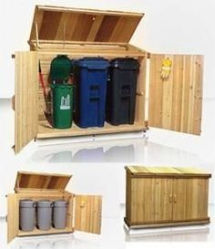 Outdoor Wooden Garbage Storage Bin Provide Attractive Garbage Can .