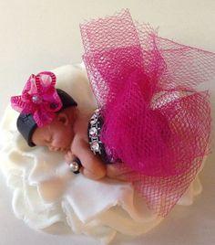 TUTU BABY SHOWER Cake Topper Fondant Cake by BabyCakesByJennifer