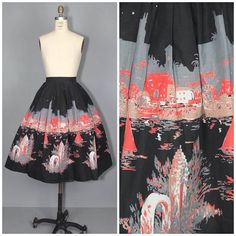 """Holiday Island"" by Millworth / novelty print skirt / from Pretty Little World"