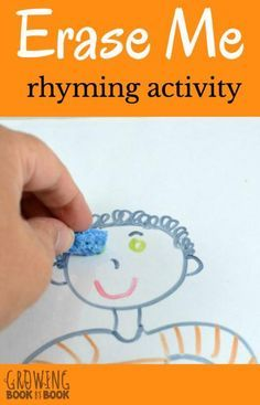 Rhyming unit- Build phonological skills with this rhyming activity. It's super easy and fits great with an all about me theme study too. Kindergarten Literacy, Preschool Learning, Learning Activities, Early Literacy, Literacy Centers, Preschool Classroom, Creative Activities, Teaching Resources, Teaching Ideas