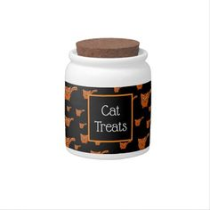 Shop Black & Orange Kitty Pattern Candy Jar created by thepawkinglot. Custom Candy, Creature Comforts, Cat Treats, Having A Blast, Hard Candy, Candy Jars, Cute Pattern, Pet Shop, White Porcelain