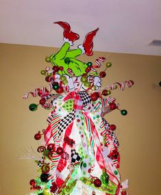 Your place to buy and sell all things handmade This listing is for Grinch Inspired Tree Topper only. No ribbon or floral picks included. Unusual Christmas Tree Toppers, Grinch Christmas Decorations, Grinch Christmas Party, Unique Christmas Trees, Christmas Door, White Christmas, Christmas Wreaths, Christmas Crafts, Christmas Topper