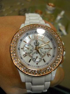 """8107-Tic Toc 7 1/2"""" ladies Watch  rose gold plated w/ crystals"""