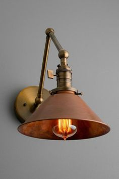 Articulating Copper Wall Sconce – Rustic Lighting – Swivel Wall Light – Light Fixture – Industrial Light – Antique Brass – Aged Copper - All For House İdeas Industrial Wall Lights, Industrial Light Fixtures, Rustic Lighting, Lighting Design, Decorative Lighting, Copper Light Fixture, Copper Lighting, Lighting Ideas, Copper Wall Light
