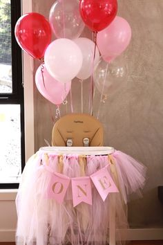 Highchair from a Floral Carousel Birthday Party on Kara's Party Ideas | KarasPartyIdeas.com (19)