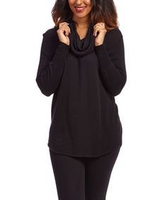Another great find on #zulily! Black Wool-Blend Cowl Neck Sweater by Joseph A #zulilyfinds