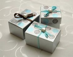 Decorative Tape In Action Brown Blue Diy Wedding Favor Ideas