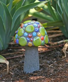 Add a touch of color and whimsy to your garden year round! This mushroom is 9 tall and 6 in diameter. Mushrooms have a 1/2 PVC insert so they can be staked in the ground or simply set on a flat surface. Recommended stake is an 18 length of 1/2 rebar (not included) that is available at most home improvement stores.