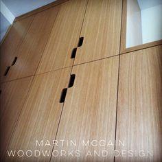 Grain-matched riftsawn white oak linen cabinet. Linen Cabinet, White Oak, Modern Furniture, New Homes, Woodworking, Colors, Closet, House, Design