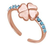 Sterling Silver Clover Style CZ By Pass Style Adjustable Toe Ring