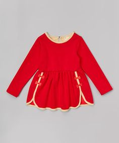 Look what I found on #zulily! Red Bow Skater Dress - Infant, Toddler & Girls by Leighton Alexander #zulilyfinds