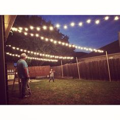 49 Awesome Patio Yard String Lights Ideas - For the Home - Outdoor Backyard Party Lighting, Backyard String Lights, Outdoor Lighting, String Lighting, Fence Lighting, Ceiling Lighting, Outside Lighting Ideas, Backyard Patio, Backyard Landscaping