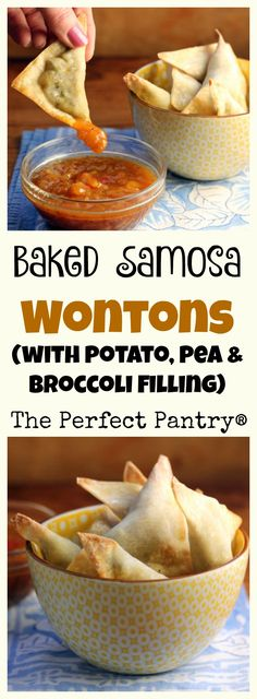 Baked samosa wontons filled with mashed potato, peas and broccoli. #vegetarian [ThePerfectPantry.com]