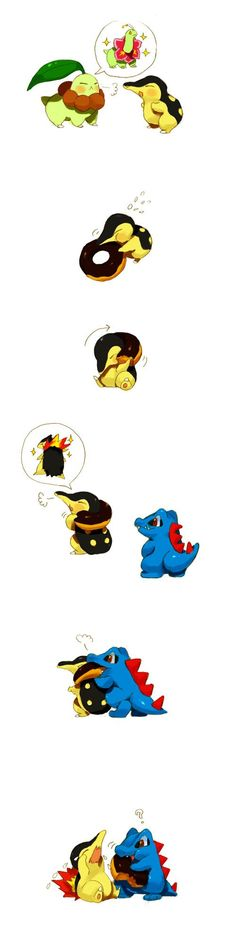 Totodile just doesn't get it ... chikorita, cyndaquil, totodile, pokemon