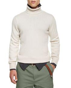 Cashmere Turtleneck Sweater, Cream