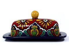 "Red, Yellow & Cobalt Blue Talavera Style Butter Dish -- ""Royal Border"""