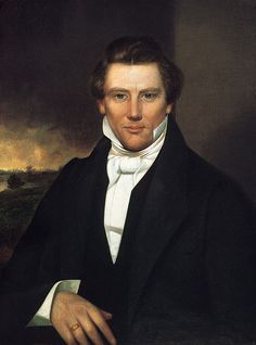 """Painting: Joseph Smith, Jr., painter unknown, c. 1842. Credit: Wikimedia Commons. Read more on the GenealogyBank blog: """"Illinois Mob Murders Joseph Smith Jr., Mormon Leader."""" https://blog.genealogybank.com/illinois-mob-murders-joseph-smith-jr-mormon-leader.html"""