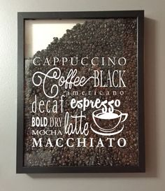 Coffee Lover Coffee Collage Vinyl Sticker Decal / Sticker - Shadow boxes and more - Wall Quote by AmberRockstar on Etsy