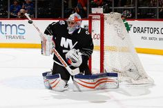 Thomas Greiss of the New York Islanders Nhl Games, New York Islanders, Ice Hockey, Blues, Sports, Tops, Fashion, Goalkeeper, Hs Sports