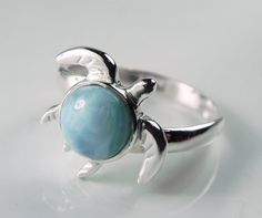 Sea Turtle Ring  Larimar Turtle Jewelry  Unique by FantaSeaJewelry,