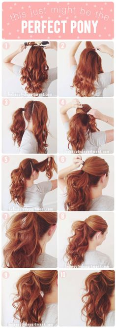 9 sassy hair tutorials you should steal from Pinterest: http://www.cosmopolitan.co.uk/beauty-hair/hair/a31601/best-party-hair-tutorials/ Curly Ponytail Hairstyles, Long Hair Ponytail Styles, Ponytail Hairstyles Tutorial, Cute Easy Ponytails, Easy Hairstyles For Work, Half Pony Hairstyles, Office Hairstyles, Easy Hair Styles Long, Simple Hairstyles For Long Hair