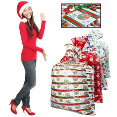 """4 Assorted Christmas X-Mas Holiday Themed Gift Sacks Bags Lot 36""""x48"""" Large Bulk ** Review more details here : Wrapping Ideas"""