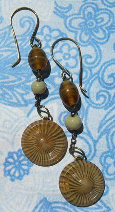 Vintage Button Earrings  Caramel Macchiato  Dangle  by CarlyBette, $10.00
