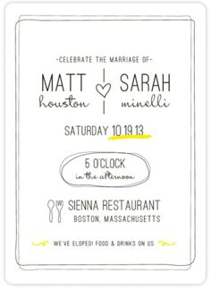 after the wedding party invitations or elopement party invitations Wedding Announcement And Reception Invitation \
