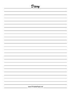Print out this lined diary paper to record your thoughts or activities. Free to download and print