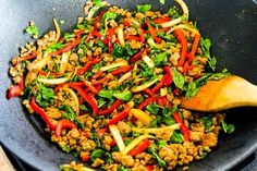Thai-Inspired Ground Turkey Stir-Fry with Basil and Peppers (Low-Carb, Gluten-Free) found on KalynsKitchen.com