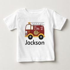 Cute Fire Truck Kids Birthday Personalized Baby T-Shirt - tap, personalize, buy right now! Geek Baby, Cartoon T Shirts, Fishing T Shirts, Stylish Baby, Baby Shirts, Baby Disney, Personalized Baby, Cotton Tee, Baby Shop