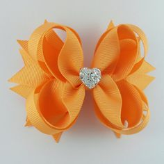 Cream Orange Stacked Boutique Hair Bow with by GhinesCreations