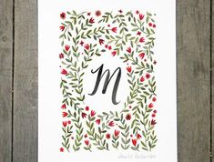 Monogram Letter M floral art print Floral Letters, Monogram Letters, Sign Language Words, Arte Floral, Pigment Ink, Lettering Design, Yellow Flowers, Folk Art, Watercolor