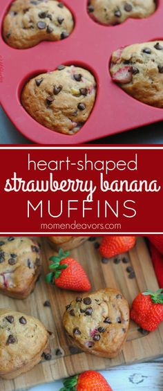 Strawberry banana muffins with chocolate chips make a sweet breakfast treat! Perfect for Valentine's Day!