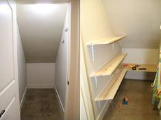 Under stair storage ideas diy under stairs closet storage ideas bar Storage Bin Shelves, Closet Storage Bins, Coat Storage, Closet Shelves, Cupboard Storage, Shelving, Understairs Closet, Understairs Ideas, Clothes Storage
