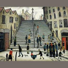 Laurence Stephen Lowry - Steps at Wick [Bonhams, London - Oil on canvas, 17 x 21 cm] Step By Step Painting, Painting Steps, English Artists, Painting People, Naive Art, Famous Artists, British Artists, Caravaggio, Urban Landscape