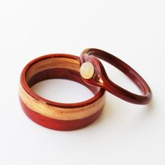 Wooden Wedding Ring Set, Bentwood Ring, Matching Wood Engagement Rings, His and Hers, made from Padauk and Oak with Mother of Pearl pendant rings pearl This item is unavailable Wood Engagement Ring, Vintage Engagement Rings, Titanium Wedding Rings, Wood Rings, Ring Verlobung, Wooden Jewelry, Pearl Ring, Unique Rings, Creations