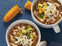 White Lightning Chicken Chili | White Lightning Chicken Chili gets its name because it only takes 30 minutes from start to finish to get this one-dish meal to the table. Don't drain the chopped green chiles or navy beans. Serve chili with cornbread.