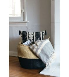 The stripes and colors in this throw add some texture and warmth to your living space. Drape it over an armchair or on the end of your bed for extra pop. Shop the look with L&G! #LANDGATHOME